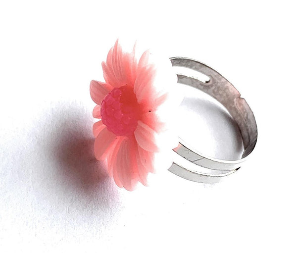 Pink Daisy Adjustable Ring