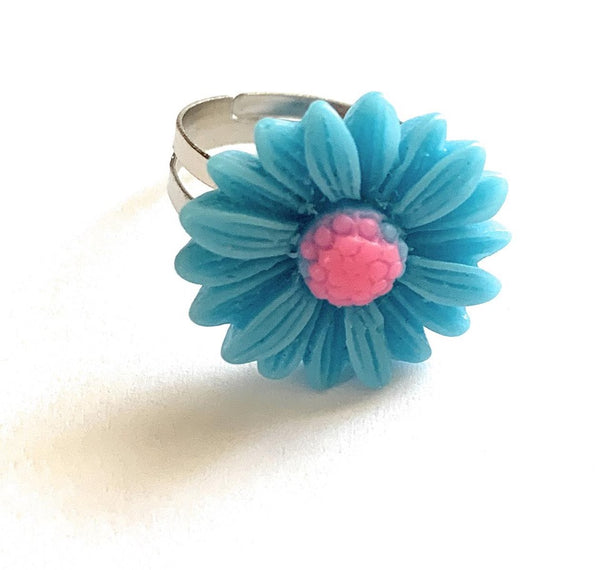 Blue Daisy Adjustable Ring