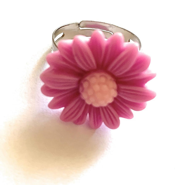 Purple Daisy Adjustable Ring