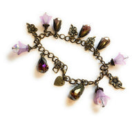 Purple Flowers and Crystals Charm Bracelet