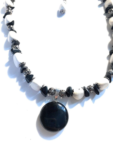 Onyx and Howlite Gemstone Necklace