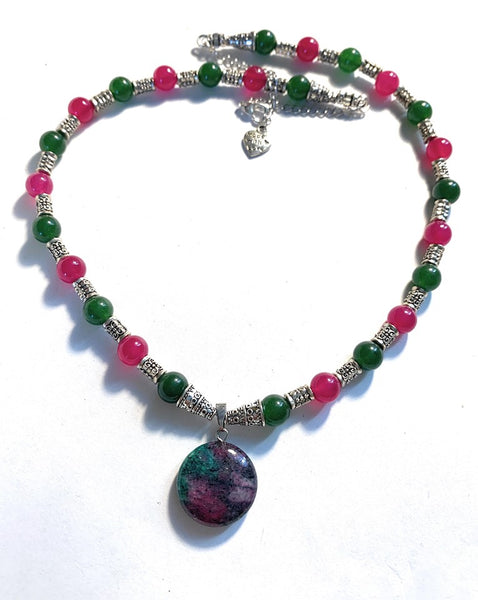Jade and Ruby Gemstone Necklace