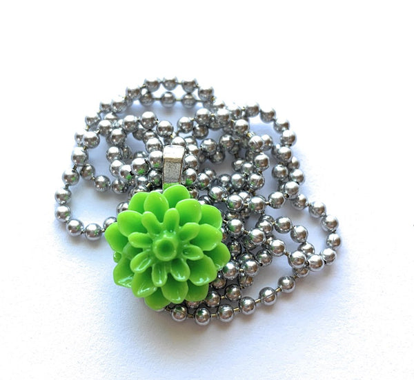 Green Dahlia Flower Necklace