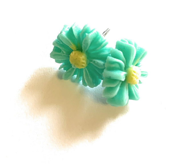 Blue Sunflower Stud Earrings