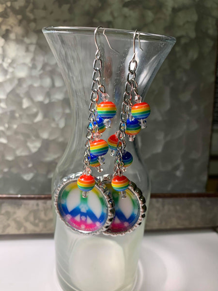 Peace Signs Dangle Earrings