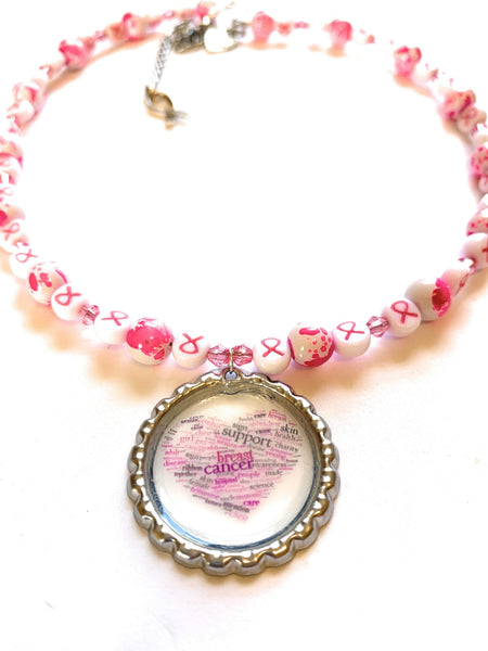 Breast Cancer Awareness Beaded Necklace