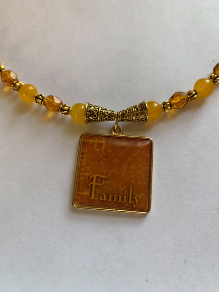 Family Golden Gemstone Bead Necklace