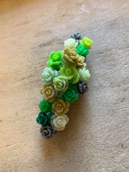 Green Roses Bouquet Hair Barrette