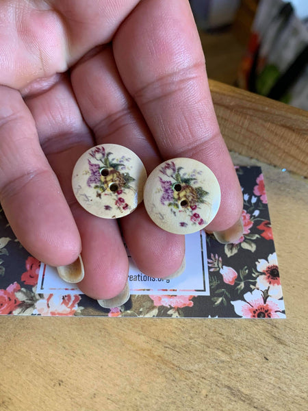 Vintage Floral Wood Button Earrings