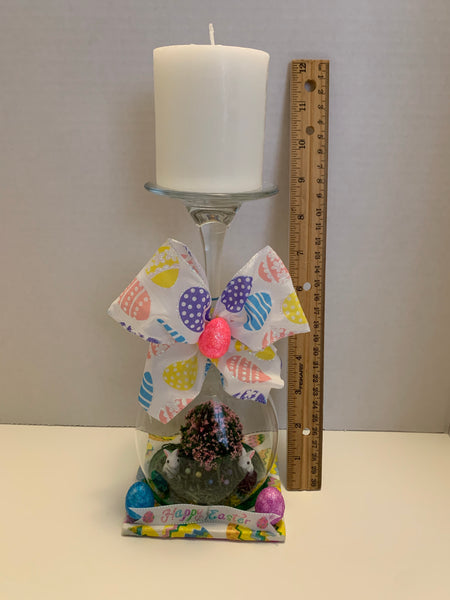 Easter Wine Glass Candle Holder