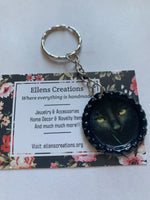 Black Cat Bottle Cap Keychain