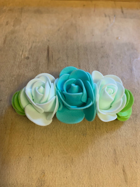 Teal Roses Hair Barrette