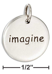 Imagine - Sterling Silver Round Charm