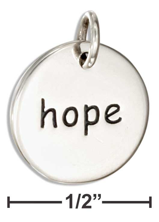 Hope - Sterling Silver Inspirational Two Sided Disk Charm