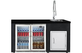 Kit Artisan Outdoor Kitchen Module with Double Door Outdoor Display Fridge, Sink and Single Door Storage Cabinet