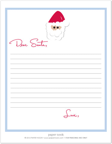 printable letter to santa santa letter christmas list paper nook