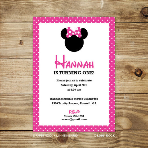PRINTABLE Minnie Mouse Inspired Invitation