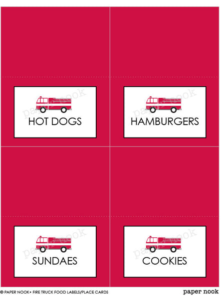 PRINTABLE Fire Truck Food Tent & Place Cards