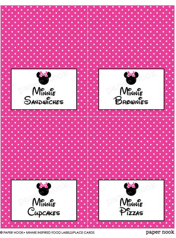 PRINTABLE Minnie Mouse Inspired Food Tent Place Cards