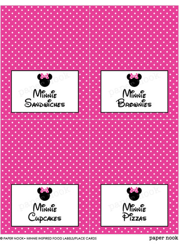 PRINTABLE Minnie Mouse Inspired Food Tent & Place Cards
