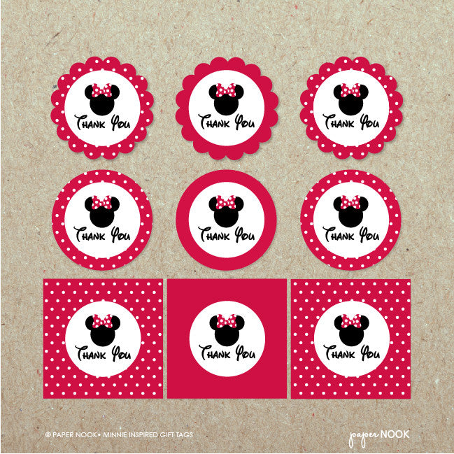 printable minnie mouse inspired gift tags paper nook