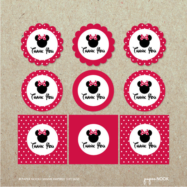PRINTABLE Minnie Mouse Inspired Gift Tags