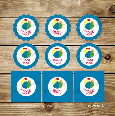 PRINTABLE Pool Party Gift Tags