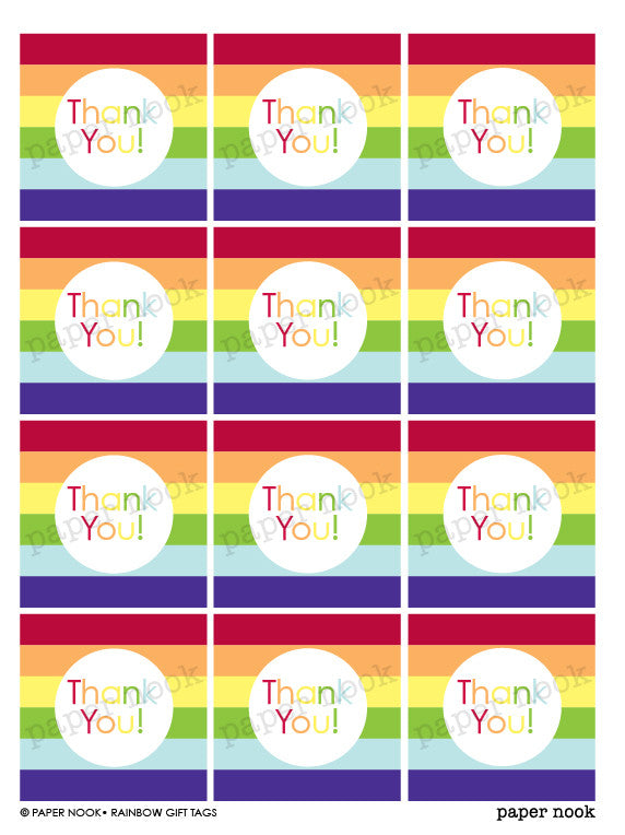 printable rainbow gift tags by paper nook paper nook