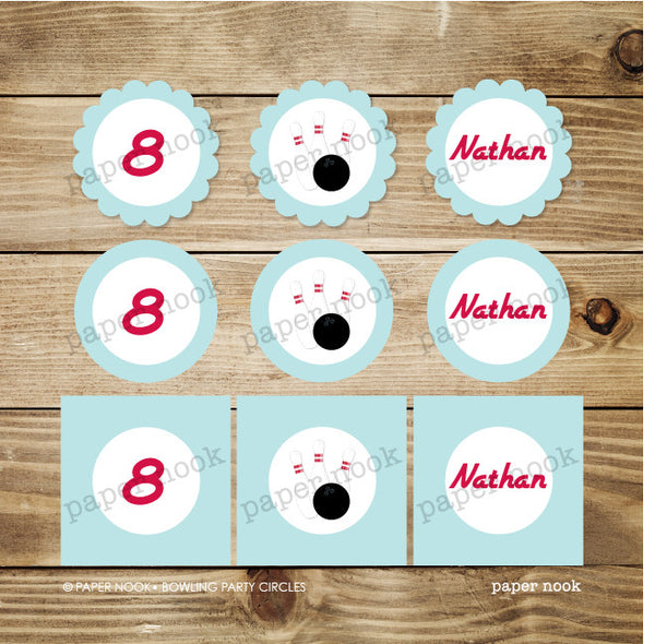 PRINTABLE Bowling Party Circles