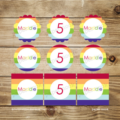 PRINTABLE Rainbow Party Circles