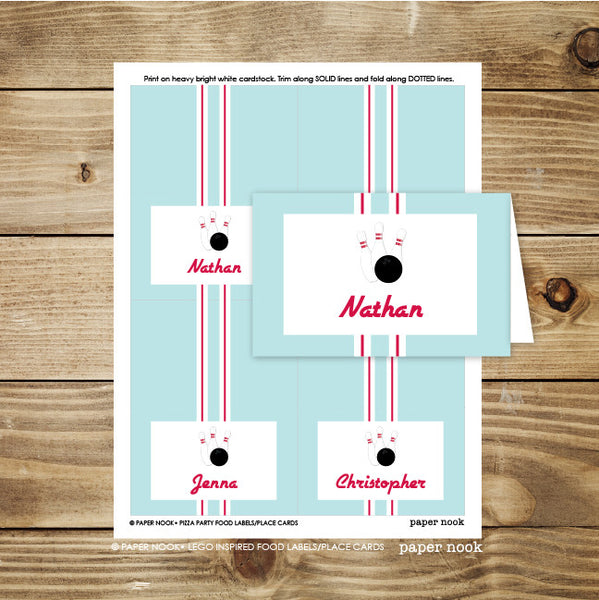 PRINTABLE Bowling Food Tent & Place Cards