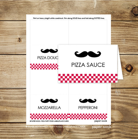 PRINTABLE Pizza Party Food Tent & Place Cards