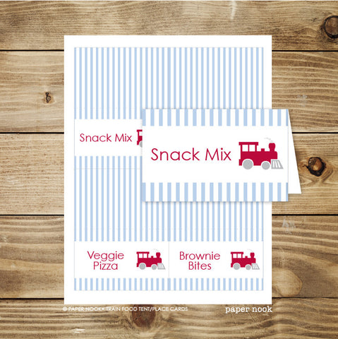 PRINTABLE Train Food Tent & Place Cards