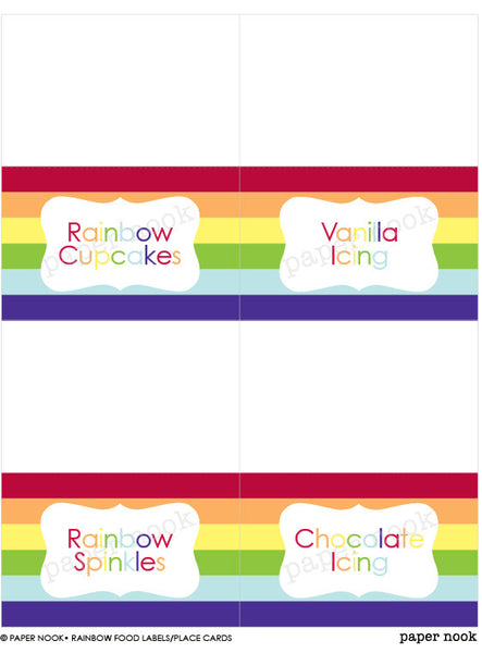 PRINTABLE Rainbow Food Tent & Place Cards