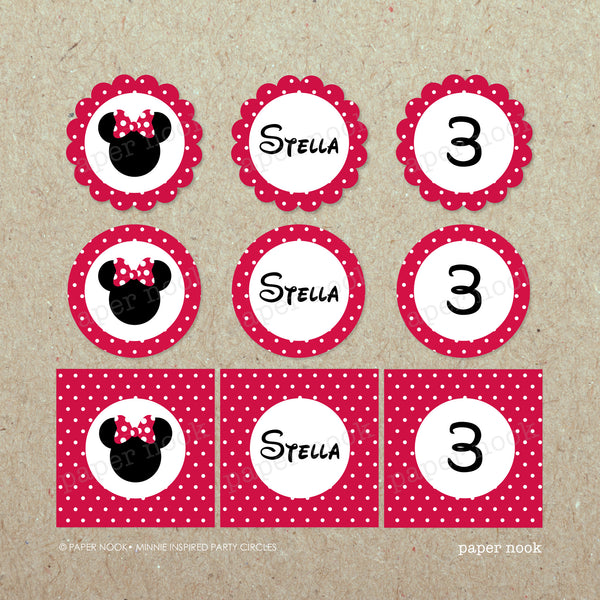 PRINTABLE Minnie Mouse Inspired Party Circles