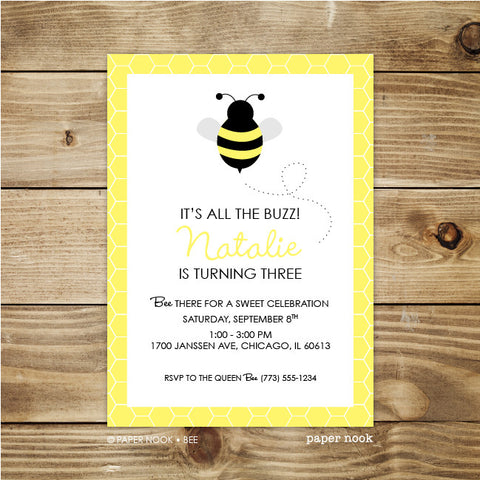 PRINTABLE Bee Invitation