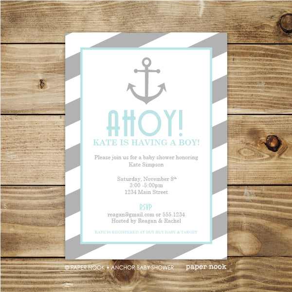 PRINTABLE Anchor Baby Shower Invitation