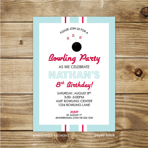 PRINTABLE Bowling Invitation