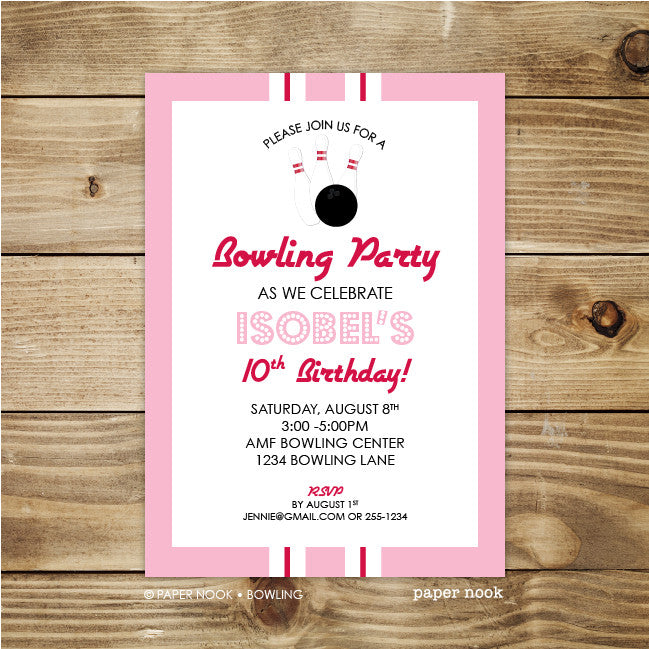 Printable Bowling Party Invitation  Paper Nook