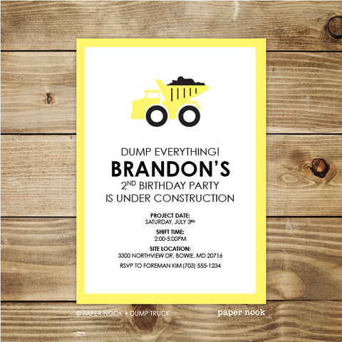 PRINTABLE Dump Truck Invitation