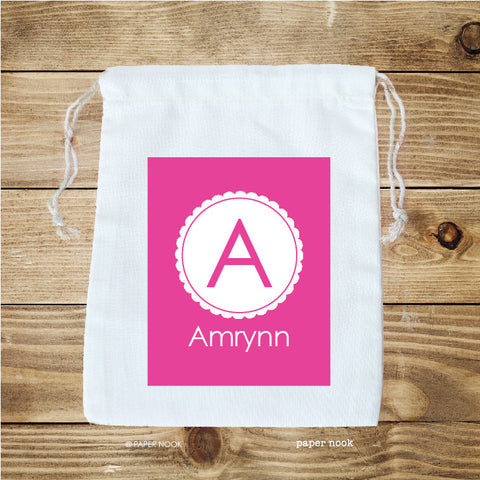 Scallop Initial Favor Bag