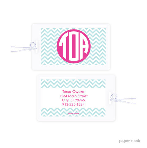 Chevron Monogram Bag Tag