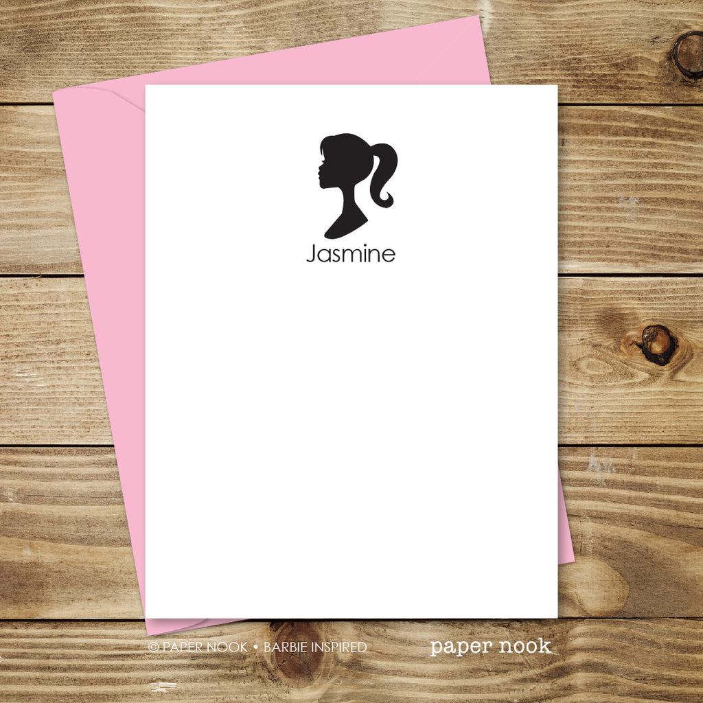 personalized barbie silhouette note cards by paper nook paper nook