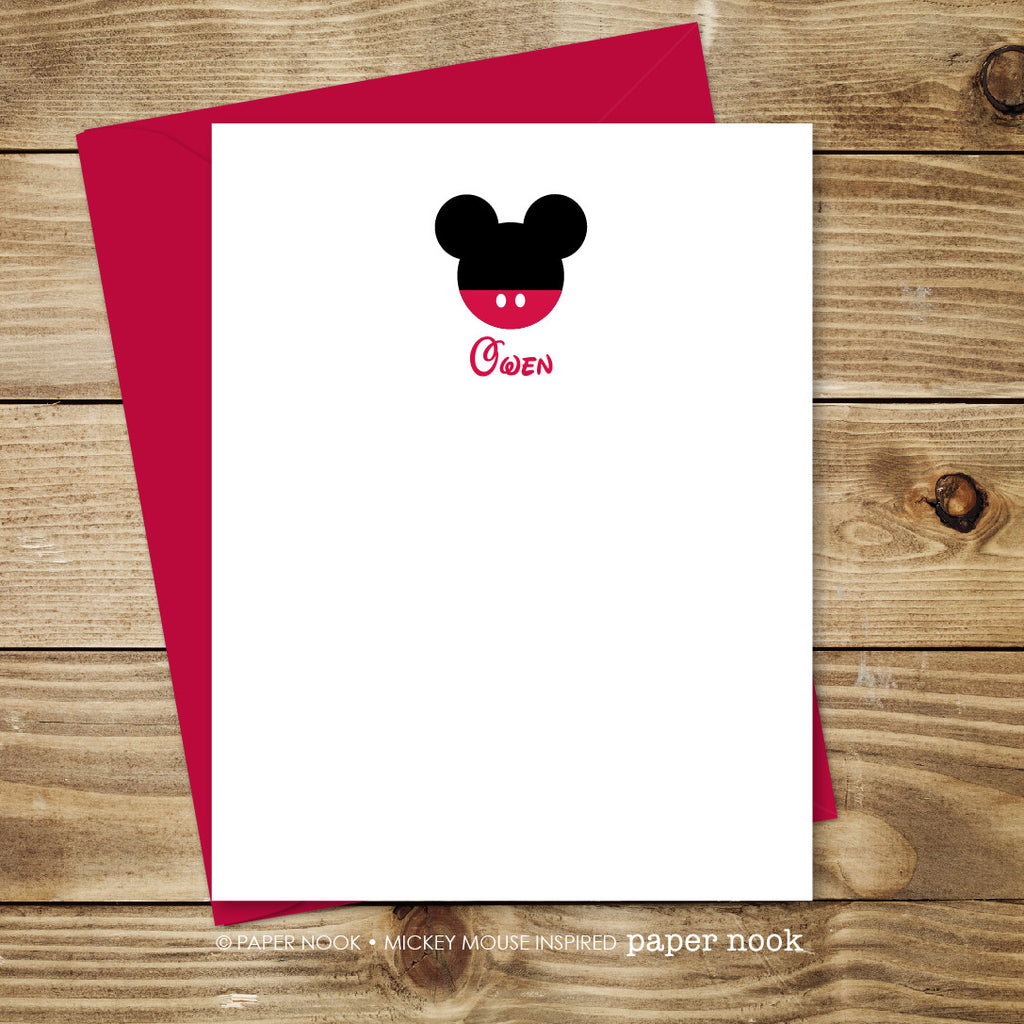 Personalized Mickey Mouse Note Cards by Paper Nook | Paper ...