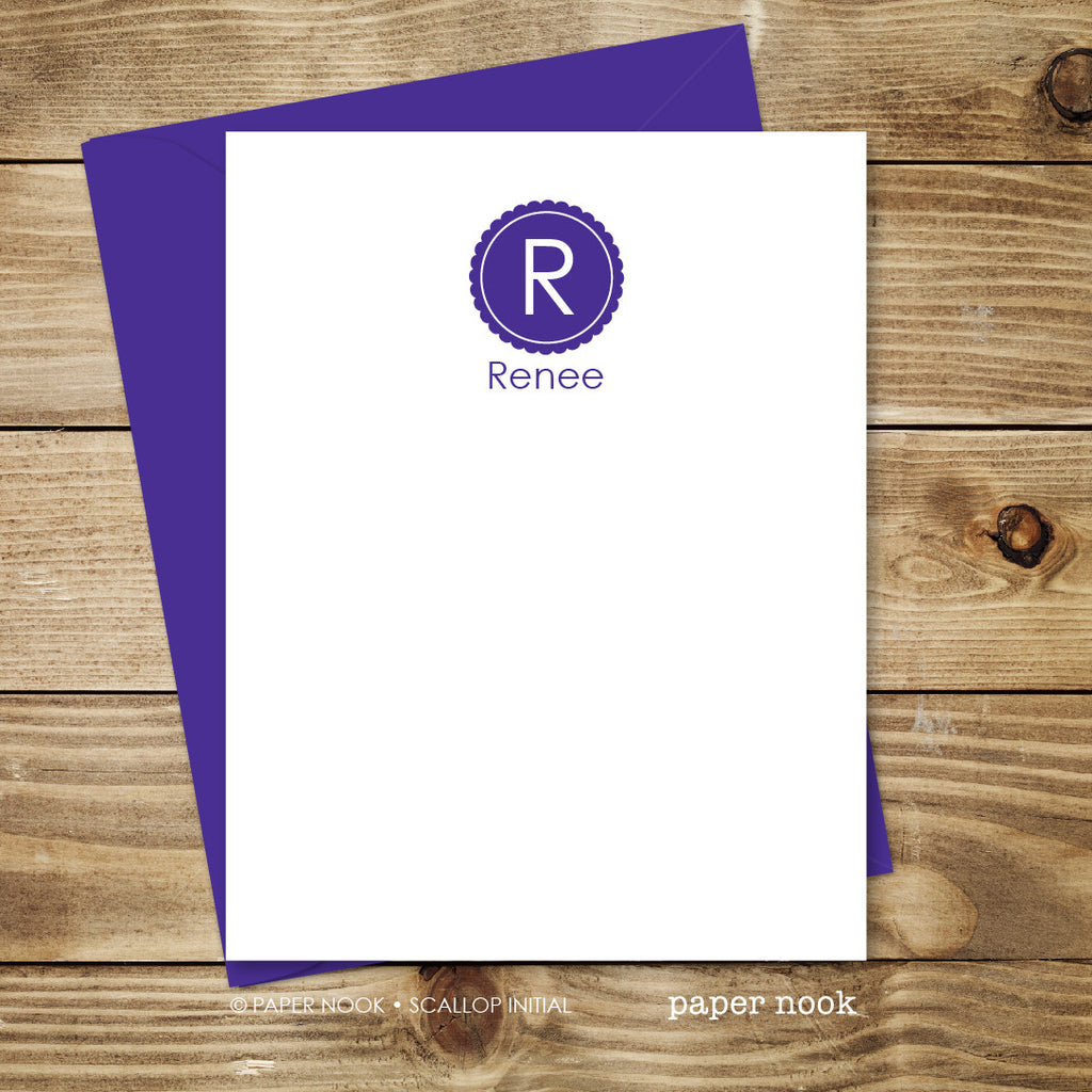 scallop initial note cards - Initial Note Cards