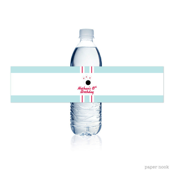 PRINTABLE Bowling Water Bottle Label