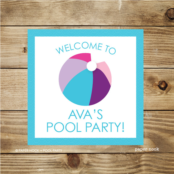 PRINTABLE Pool Party Welcome Sign