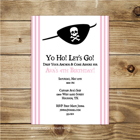 PRINTABLE Pirate Patch Invitation