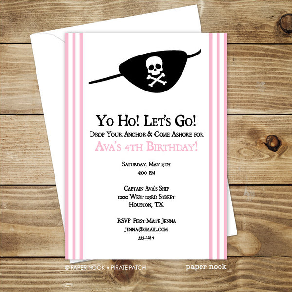 Pirate Patch Invitation