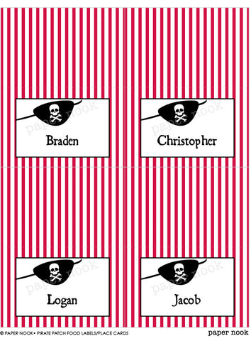 PRINTABLE Pirate Patch Food Tent & Place Cards